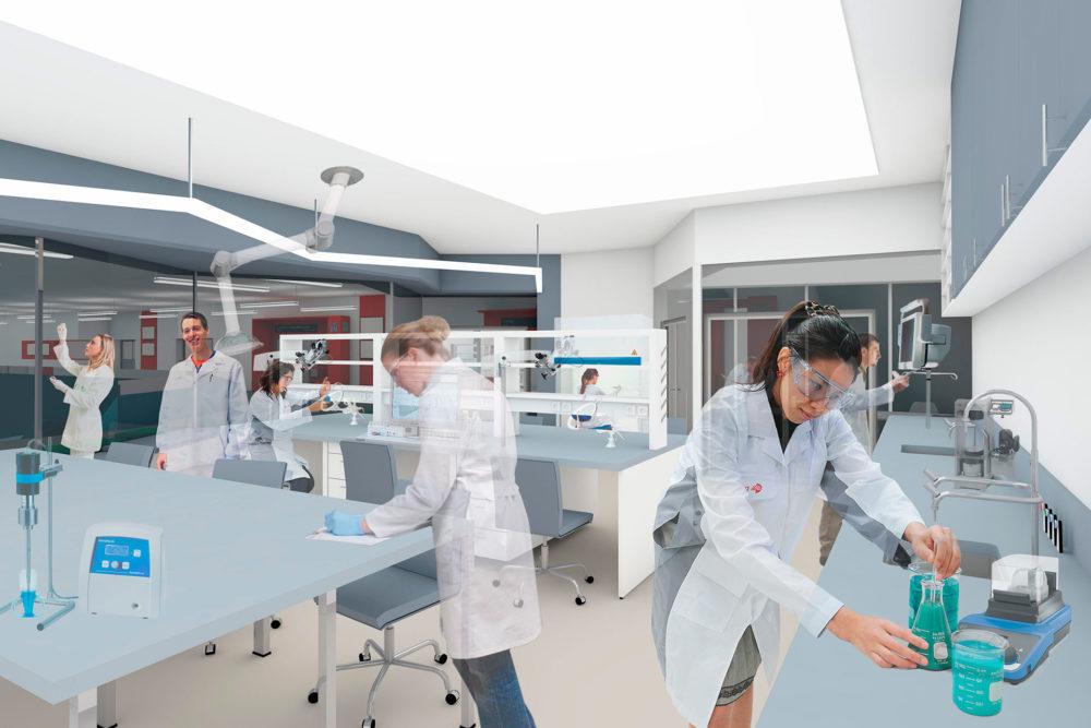 Konkrete undervisningsrom (f.eks. lab eller naturfag) med transparens ut mot felles-/kommunikasjonsområder