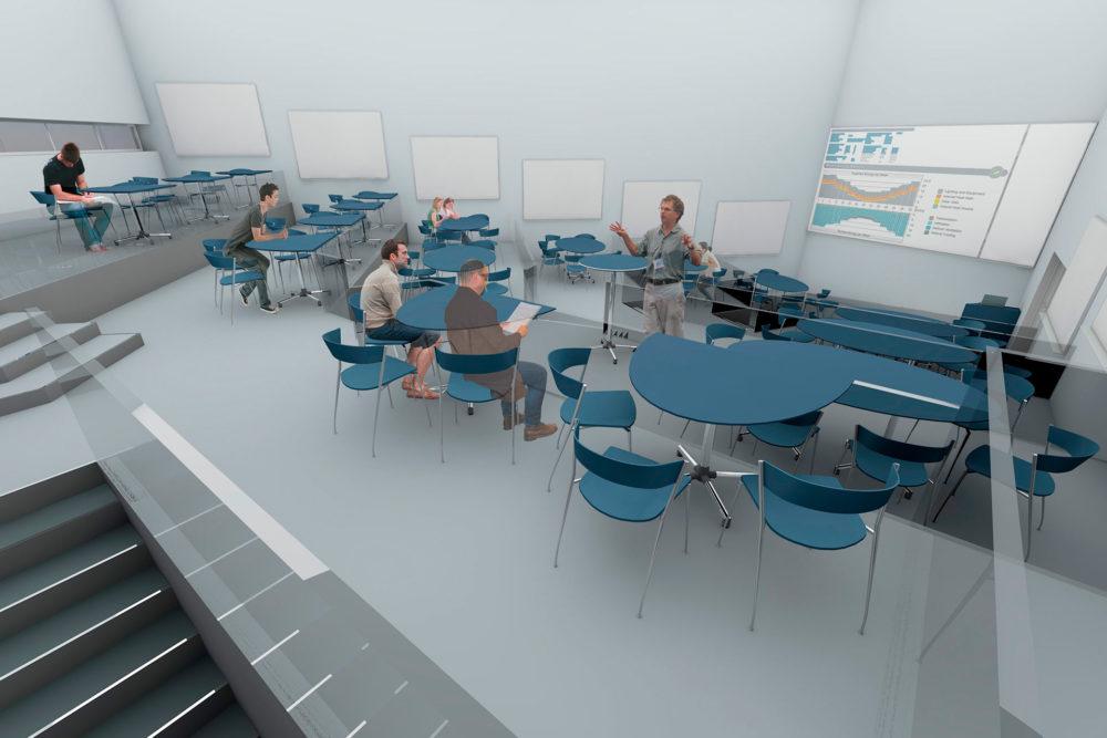 Moderne auditorium, med mulighet for klassisk fellesundervisning, med med mulighet for individuelle gruppearbeid og oppdelt undervisningssituasjon.