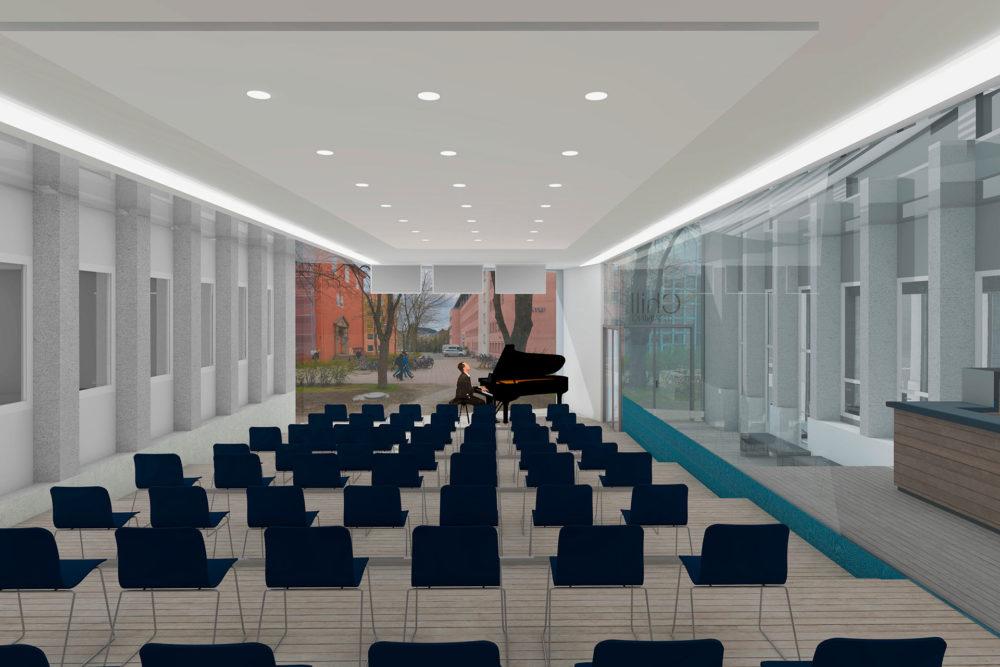 Ett rom - flerbruk - her som konsert/undervisning/gjennomgang musikk.