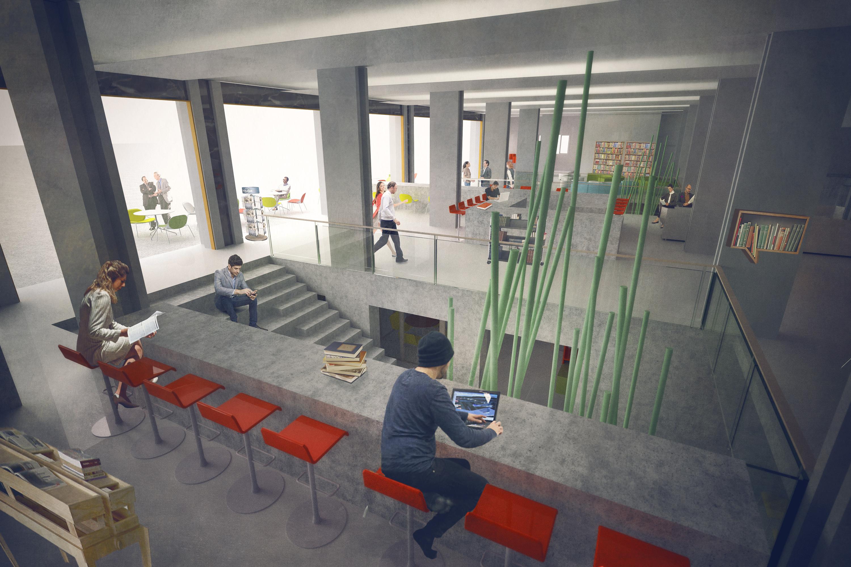 bankstasjon_illustasjon_3D_atrium_tilbygg_arkitektur_brannstasjonen_bergersenarkitekter_søndre_gate_passasje_bibliotek_konkurranse_arkitekturkonkurranse