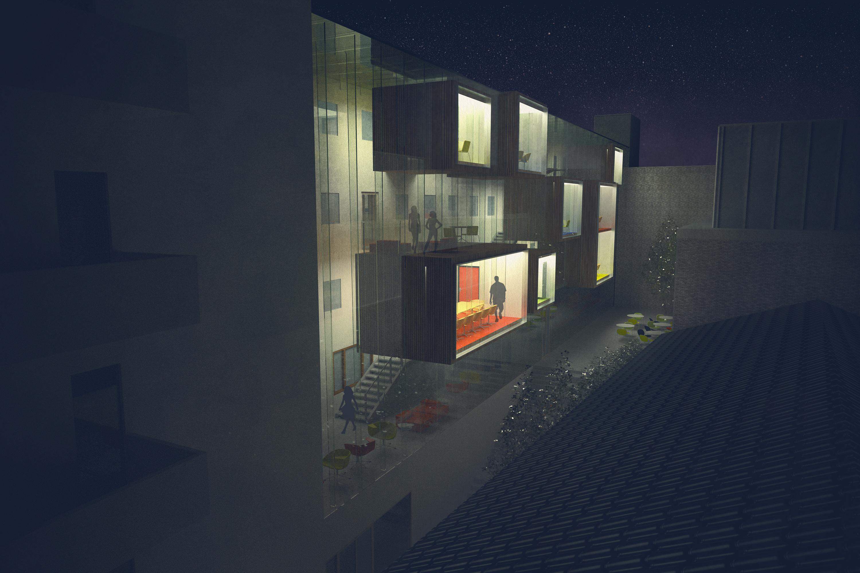 bakgård_bankstasjon_illustasjon_3D_tilbygg_arkitektur_brannstasjonen_bergersenarkitekter_søndre_gate_passasje_bibliotek_konkurranse_arkitekturkonkurranse