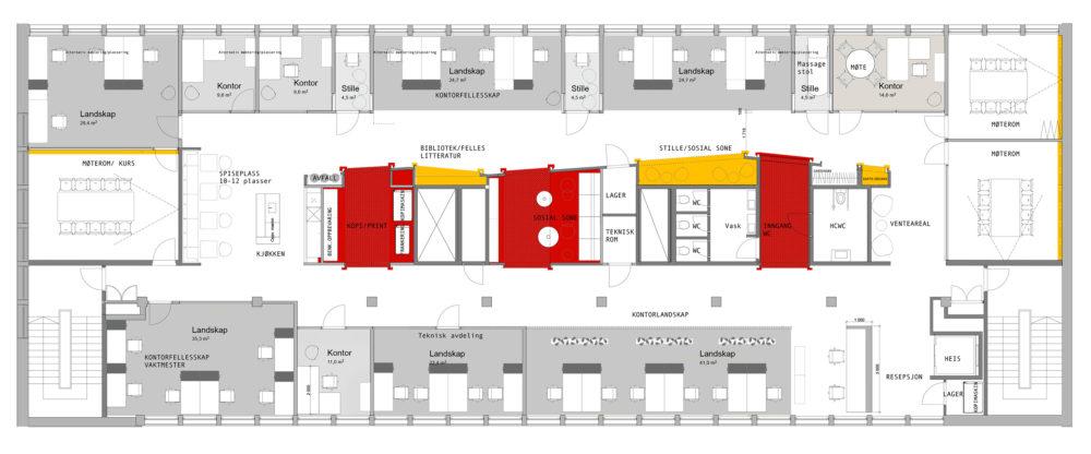 Kontorlokaler kontormiljø møbleringsplan møbelplan