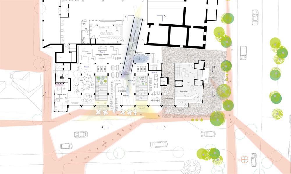 Situasjonsplan_bankstasjon_snitt_arkitektur_brannstasjonen_bergersenarkitekter_søndre_gate_passasje_bibliotek_konkurranse_arkitekturkonkurranse