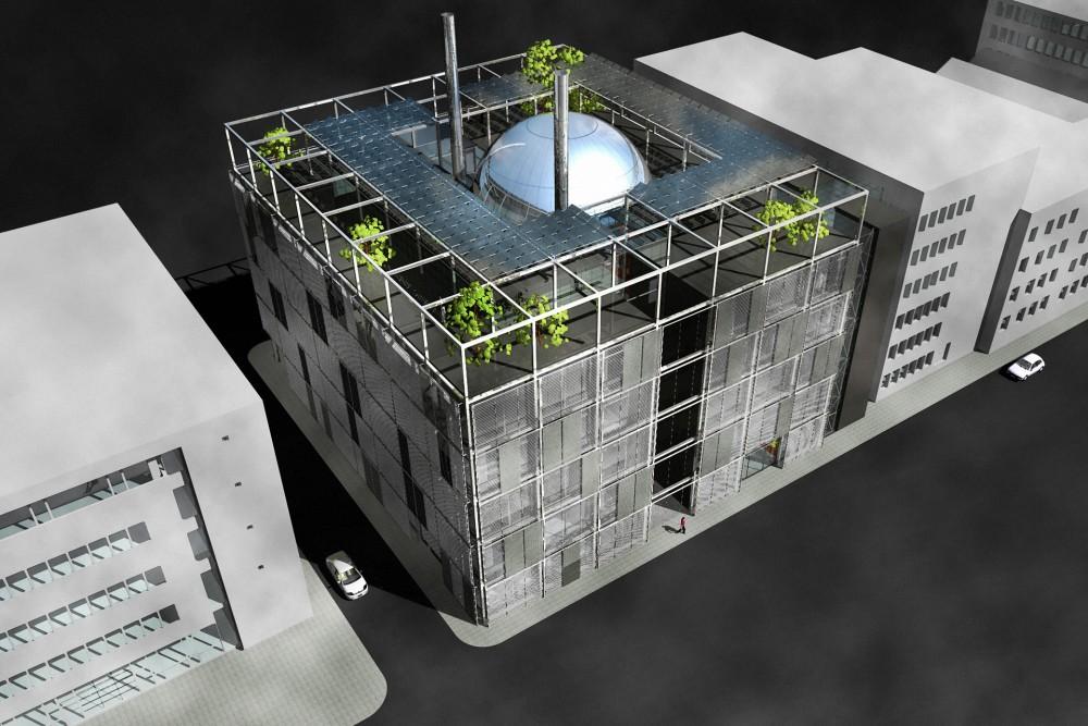 arkitektur_torndheim_forslag_utforming_laboratoriebygg_gloshaugen_ntnu_sintef_forsteplass_konkurranse_fugleperspektiv_kvartalet_tak_bygg