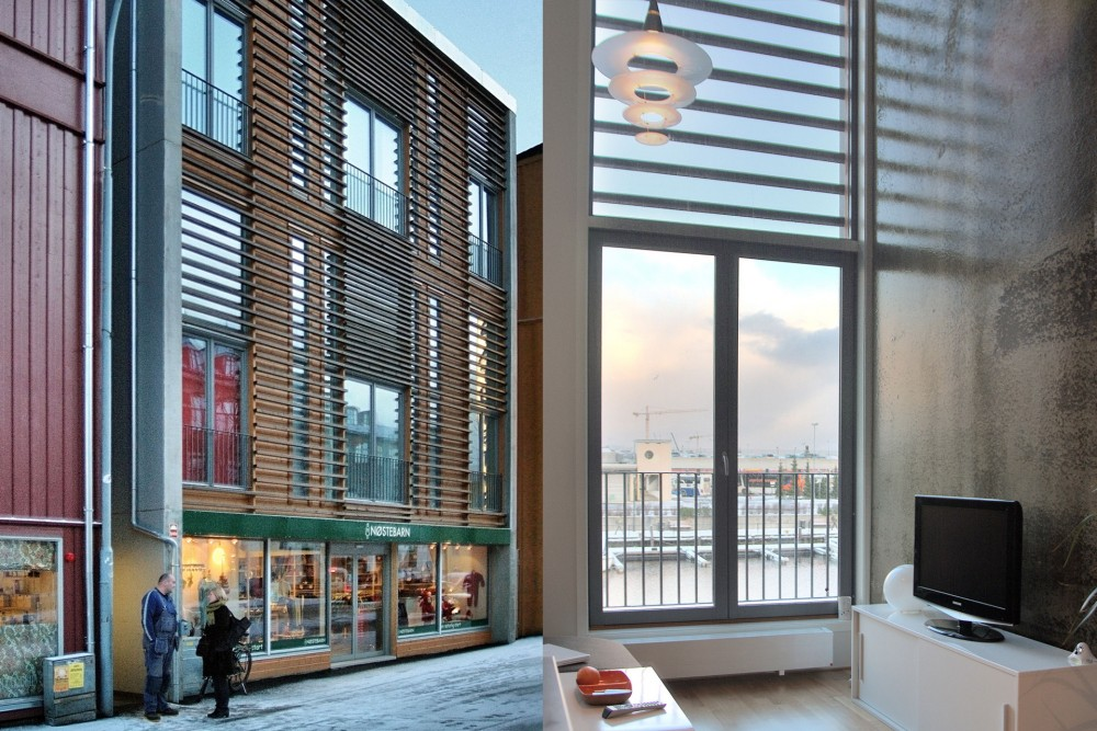 arkitektur_trondheim_brygge_brygger_bryggene_trebrygger_trebryggene_fjordgata_26_28_fasade_nytt_eksterior_mot_gate_og_interior