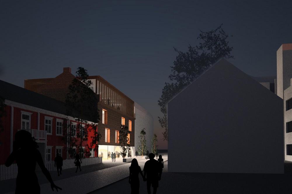 arkitektur_trondheim_campus_kalvskinnet_skisse_gate_kveld_skumring