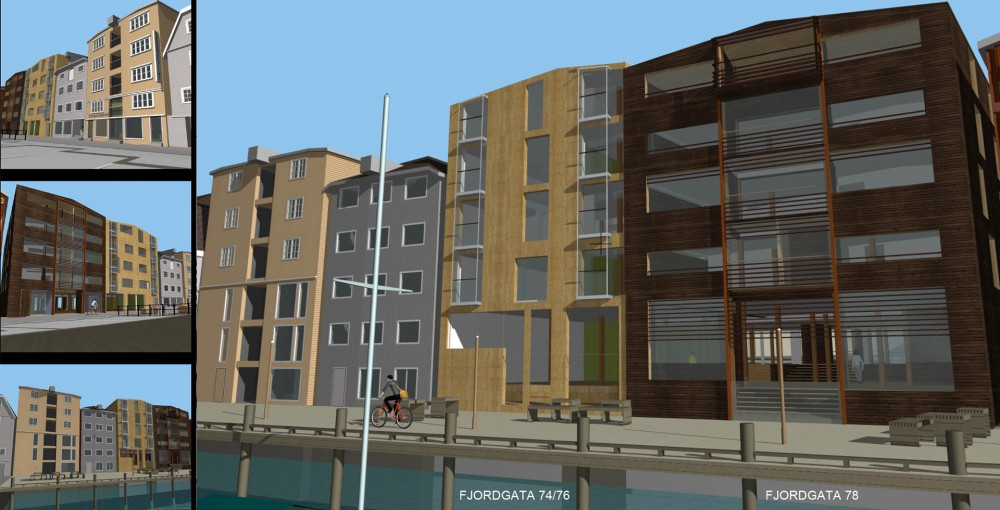 arkitektur_trondheim_fjordgata_74_76_78_gjenoppbygging_reguleringsplan_skisseprosjektet_leiligheter_naeringslokaler_3d_tegninger