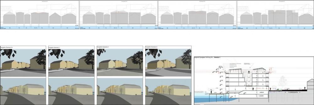 arkitektur_trondheim_fjordgata_74_76_78_gjenoppbygging_reguleringsplan_skisseprosjektet_leiligheter_naeringslokaler_perspektiv_snitt