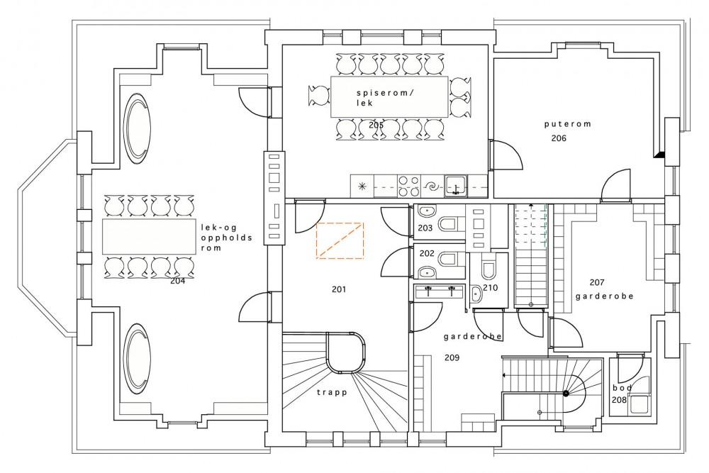 arkitektur_trondheim_midtbyen_barnehage_rehabilitering_oppgradering_elvegata_1_b_nye_planlosningen