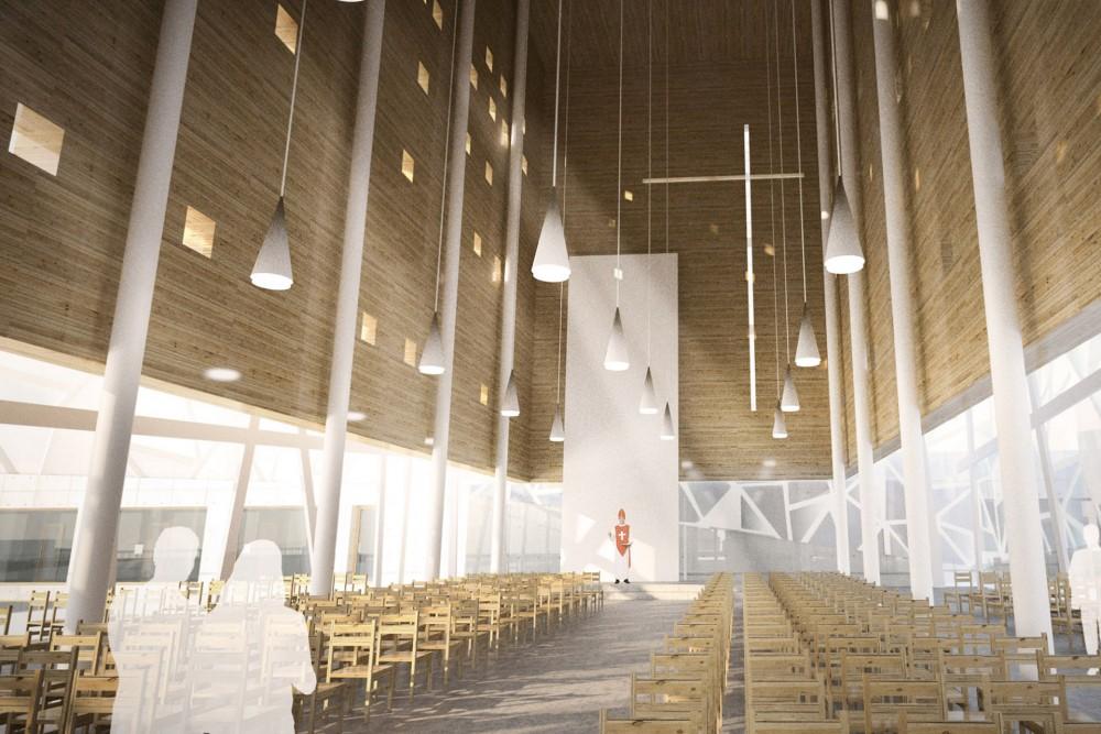 arkitektur_trondheim_ny_katolsk_domkirke_forslag_utforming_interior_kirkerommet_stoler_alter_altertavle