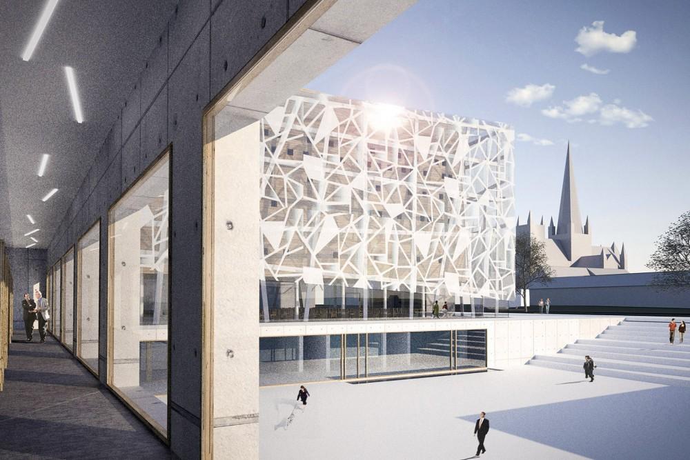 arkitektur_trondheim_ny_katolsk_domkirke_forslag_utforming_kloster_klostergang_utsikt_plassen