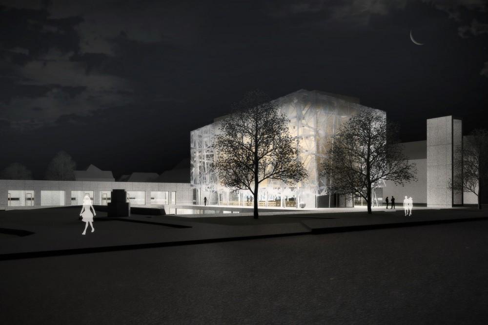 arkitektur_trondheim_ny_katolsk_domkirke_forslag_utforming_skisse_utendor_perspektiv_kveld