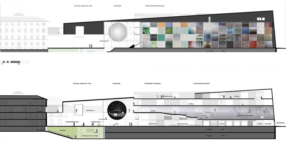 arkitektur_trondheim_vitensenter_ntnu_arkitektkonkurranse_skisse_snitt_detaljer_oversikt_innhold